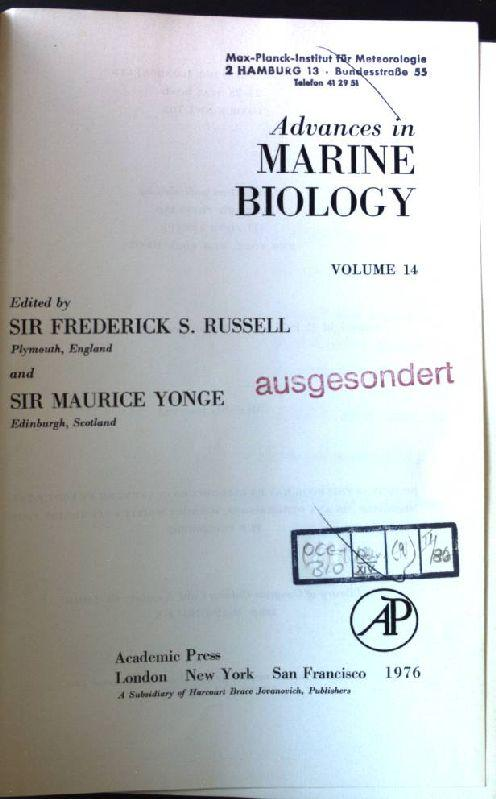 Advances in Marine Biology: v. 14 - Russell, Sir Frederick Stratten and Sir Charles Maurice Yonge