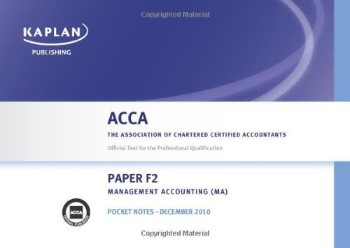 F2 Management Accounting MA - Pocket Notes (Acca)