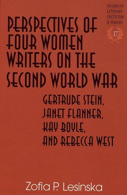 Perspectives of Four Women Writers on the Second World War als Buch von Zofia P. Lesinska - Lang, Peter