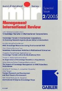 Knowledge Transfer in Multinational Corporations (mir Special Issue)