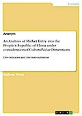 An Analysis of Market Entry into the People`s Republic of China under consideration of Cultural Value Dimensions