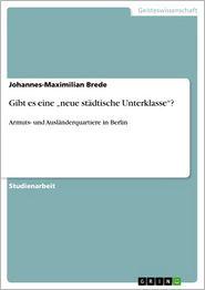Gibt es eine 'neue städtische Unterklasse'?: Armuts- und Ausländerquartiere in Berlin - Johannes-Maximilian Brede