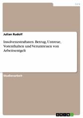 Insolvenzstraftaten. Betrug, Untreue, Vorenthalten und Veruntreuen von Arbeitsentgelt - Julian Rudolf