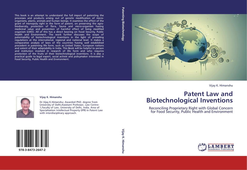 Patent Law and Biotechnological Inventions als Buch von Vijay K. Himanshu - LAP Lambert Academic Publishing