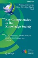 Key Competencies in the Knowledge Society: IFIP TC 3 International Conference, KCKS 2010, Held as Part of WCC 2010, Brisbane, Australia, September 20-