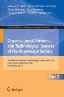 Organizational, Business, and Technological Aspects of the Knowledge Society: Third World Summit on the Knowledge Society, WSKS 20