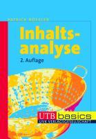Inhaltsanalyse (utb basics, Band 2671)