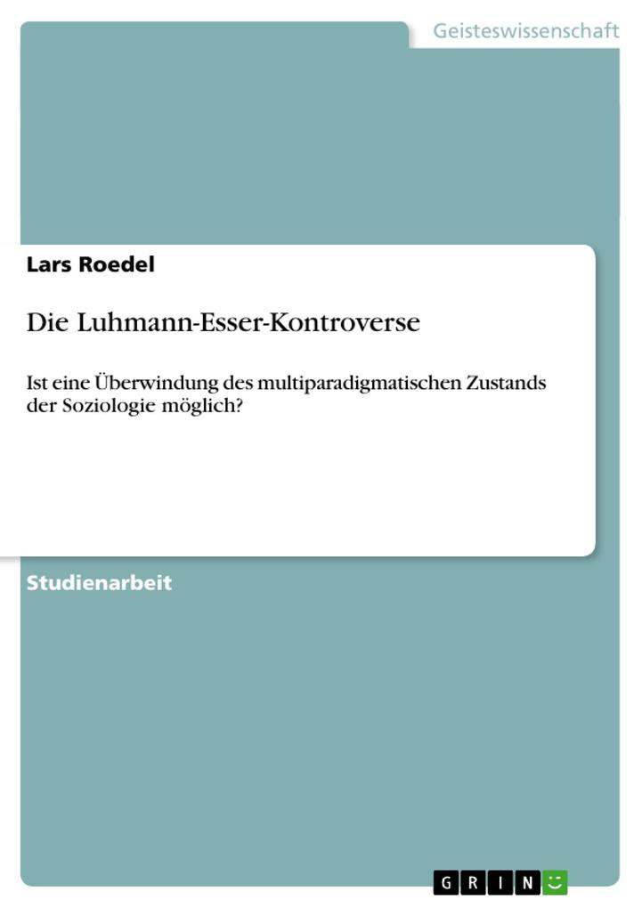 Die Luhmann-Esser-Kontroverse als eBook Download von Lars Roedel - Lars Roedel